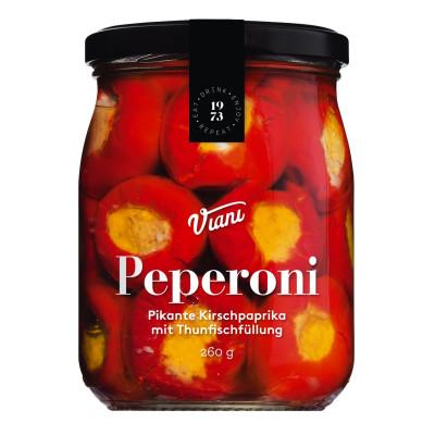 Peperoni - Pikante Kirschpaprika mit Thunfischfüllung, Viani, 260g